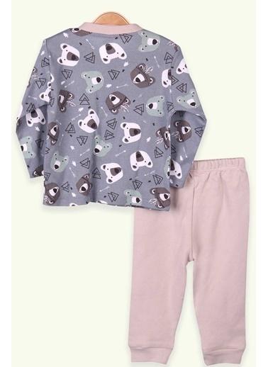 Breeze Erkek Bebek Pijama Takımı Ayıcıklı İndigo (0-3-9 Ay) İndigo